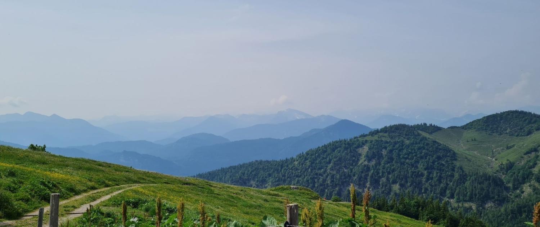 Wanderung Benediktenwand - Blick von der Bichler Alm nach Süden