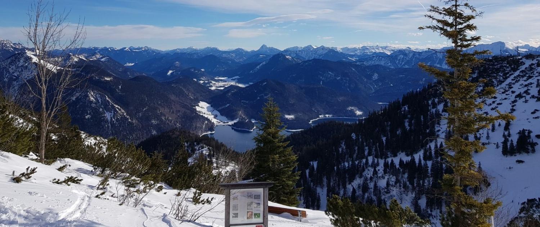 Mit Schneehschuhen auf den Herzogstand: Walchensee