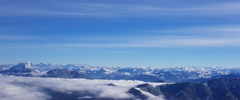 Winterwanderung am Achensee: Blick Hohe Tauern